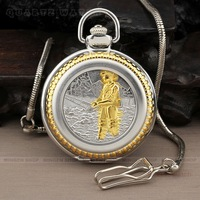 PQ087 Gold Silver Case Angler Style Roman Large Numerals Dial Quartz Analog Men Necklace Pocket Watch + Chain