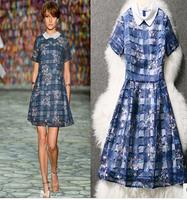 2014 overall fashion women summer dress star carpet Silk blue plaid embroidered real sample dresses  ,2014 vestidos de tulles