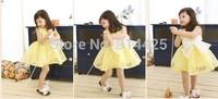 2014 New Arrival Children Girl Summer Sleeveless Bowknot Dress 120-140 White Yellow 2 Colors