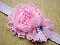 wholesale newborn headbands shabby flowers rhinestone chiffon flowers baby  headband girls children's hair accessories 50pcs/lot