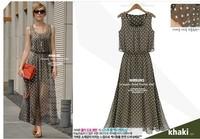 New 2014 Chiffon Polka Dot Maxi Dress,Women Casual Vintage Long Dress,Women Summer Dress,Bodycon Summer Maxi Dresses,XXL