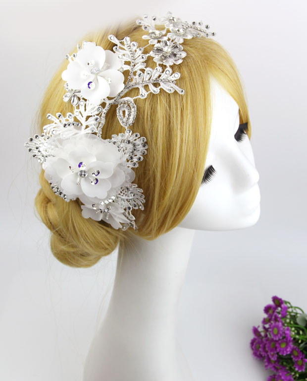 The bride hair accessory handmade lace sparkling rhinestone hair accessory marriage accessories wedding dress white