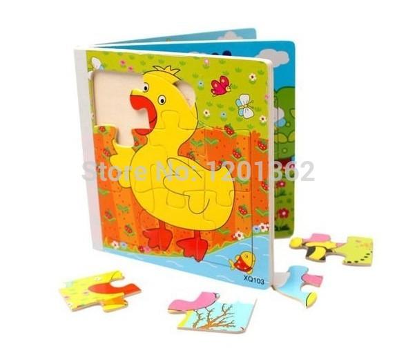 Cartoon dier houten puzzels boek baby-kids kinderen vroege kinderjaren