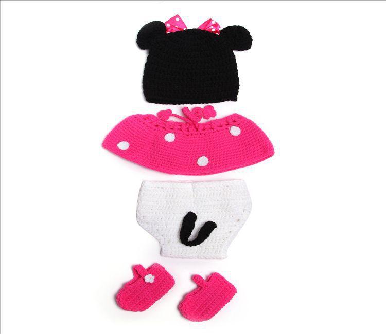Grátis frete brilhante Star armazene Crochet infantil Minnie Mouse em roupa rosa Hat Cover tecido com tu tu saia e sapatos foto Pros(China (Mainland))