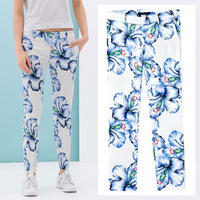 2014 Newest Vintage Summer Chic Women Blue Floral Print Slim Tight Trousers Pants Legging S M L