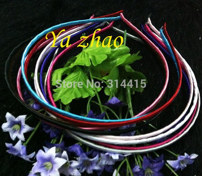 DHL free shipping 3MM Satin Ribbon Wrapped Metal Headbands , 3MM Fashion satin covered metal hair bands 300pcs/lot(China (Mainland))