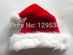 2014 christmas cap thick ultra soft plush 1 Piece Christmas Hat Caps Santa Claus Father Xmas Cotton Cap Christmas Gift Retail(China (Mainland))