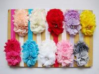 wholesale infant headbands shabby flowers pearl rhinestone chiffon flowers elastic headband girls hair accessories 30pcs/lot