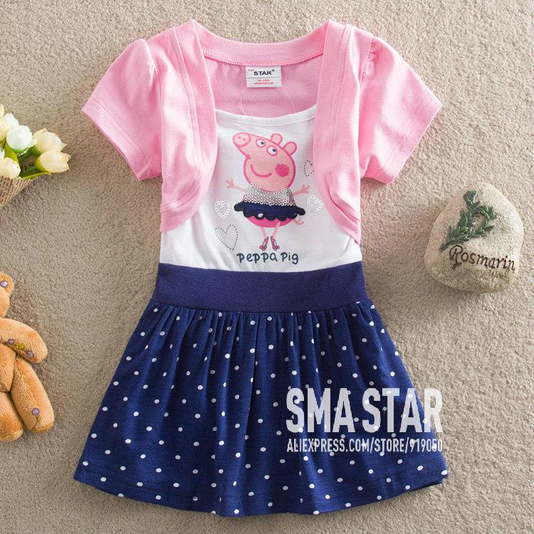 Retail! 2014 Infantil Girls Summer Dresses Peppa Pig Pattern Pink Princess Girl Wear Polka Dot Dresses Causal SMA STAR SMAZ210(China (Mainland))