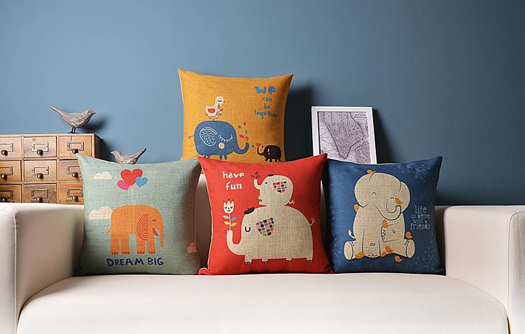frete grátis american britânico vida simples estilo cartoon série fluido amigos de elefante travesseiro travesseiro almofada de carro caso núcleo(China (Mainland))