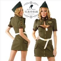 New arrival female spies uniform of police women military cosplay costume sexy army green color temptation