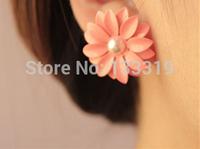 Myesoul New 2014 Fashion good Daisy Flower Earrings Earring For Women Cute Girl Alloys Earings Spring