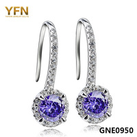GNE0950 Nice!925 Sterling silver micro-pave exquisite shiny CZ Earring 25.2*8.9mm women's jewelry wholesale free shipping