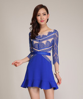 Big promotion High quality New 2014 Summer Autumn Winter Casual Fashion Lace Ruffle Sexy Dress Free shipping