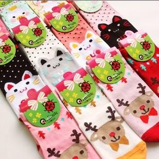 6pairs/много новых девушка носки мультфильм хлопка