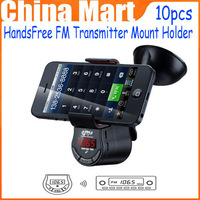 10pcs/lot Hot Saling FM Transmitter Mount Holder HandsFree Speaker Car Kit For iPhone 5S 4S