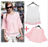 2014 hot sell New summer women lady suit Organza chiffon shirt + vest  2pcs/set  Leisure suit clothes+real tracking