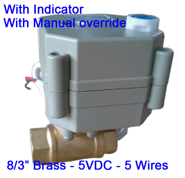 "Гаджет  3/8"" Brass Electric automatic valve DC5V, DN10 Electric ball valve 5 wires with indicator and manual override for Radiator None Строительство и Недвижимость"