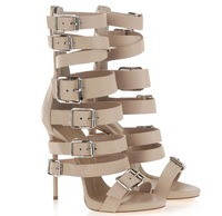 Summer Shoe High Heel Gladiator Sandals Bootie Lace Up Nude + Black  Leather Buckle Strap Sandals For Women 2014 Nero Sandal