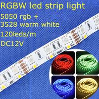 rgbw DC12V 19.2W/m 120leds/m 5m/reel double line non-waterproof flexible led strip light,SMD5050 rgb + SMD3528 warm white