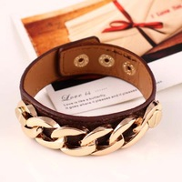New hot leather bracelet 2014 fashion Girl Wedding Engagement jewelry Alloy chain  Button bracelet High quality accessories