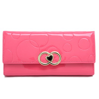 Free Shipping New 2014 Candy Color Fashion Lady's Cultch, Women Casual Leather Wallet with Heart morer #514