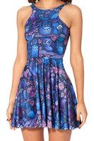 DR-04 New 2014 Spring Fashion Women's Pleated Blue Owl Animal Galaxy Digital Print Vest Tops Ball Sleeveless Dress Summer