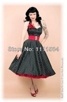 free shipping R1034 Rockabilly Polka Dot Swing Dress Black Red 50s Retro Pin Up Bridesmaid Plus 8-24