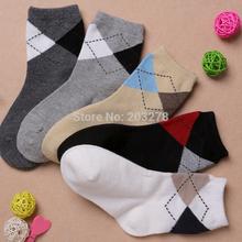5pairs/lot new 2014 boys socks 5year cotton short plaid kids children's sock 2 to 12years spring autumn British style accessory(China (Mainland))