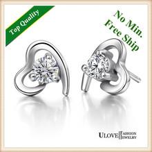 60% off Promotion Free Shipping 925 Sterling Silver White/Purple Zircon,Stud Earrings Heart,Women Crystal Earring Love UloveR111