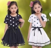 trendy two colors option girls polka dot dress  princess for girl of  kid dress for summer wear clothing princess dress for girl