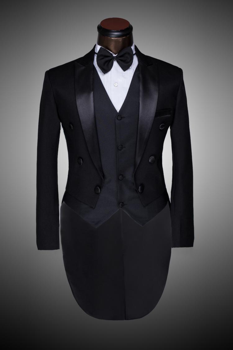 Zoot Suit Tuxedo Male custom groom prom suit 2014 mens tuxedo black ...