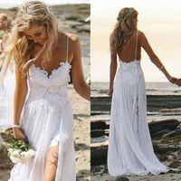 2015 OEM Hot Beach Wedding Dresses Sexy Backless White Spaghetti See Through Sweep Train Hi-Lo Lace Chiffon Bridal Gown Dresses