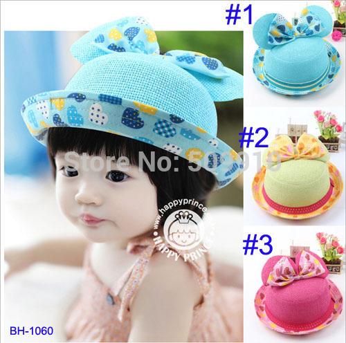 baby hat girls Mickey Mouse Model summer sun hat kids straw fedora hat children top hat 1pcs Sample BH-1056(China (Mainland))