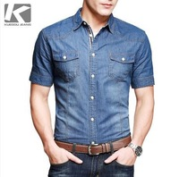 2014 Men's Brand Westernism Jean Cotton Shirts, Fashion Slim Fit Summer Short Casual Men Shirts, Short Tops