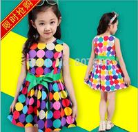 free shipping  2014 girl dress summer Fashion sleeveless Dot design dress children party princess dress girl dancing clothing