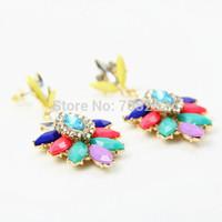 2014 New Trendy Fashion Crystal Flower Stud Earrings For Women Free Shipping