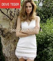 (DEIVE TEGER)2014 New Arrival white Lace V neck  Dress  Eye Lash Lace solid Women Silk backless Dress  DT146