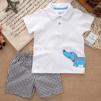 Retail carter's clothes set summer baby boys set polo T shirt + short pants 2 piece children clothing suit