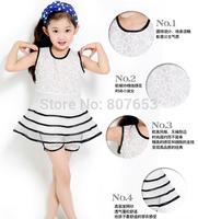 free shipping 2014 Girls summer two-piece Layered dress fashion lace dress+Render pant set girl white dress clothing