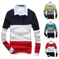 2014 New autumn and winter man knitted sweater Fashion contrast color joining together V-neck casual sweater 5Color M-XXL#W0105