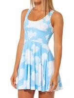 DR-14  New 2014 Spring Fashion Women's Pleated Blue Sky White Cloud Galaxy Digital Print Vest Tops Dress Summer