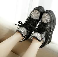 2014 summer gauze rhinestone elevator platform single  sport shoes high-top shoes casual shoes women's
