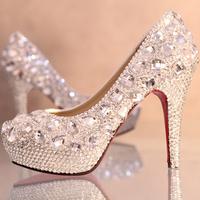 Luxury crystal wedding shoes rhinestone high heels platform princess bridal shoes women pumps