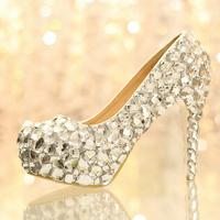 wedding shoes platform high heels shoes rhinestone white princess crystal shoes  bridal shoes anti-slip women pumps