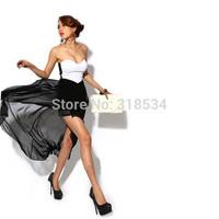 High quality Women's Dress Women Sexy Corset Women's Dress Bandeau Strapless Chiffon Asymmetric Party Evening Dress Dress Black