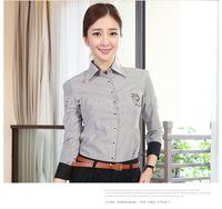 2014 new fashion OL chiffon women shirts slim female long sleeve ruffles formal shirts 0117