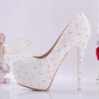White bridal shoes high heels platfrom shoes diamond pearl rhinestone wedding shoes women pumps 2014