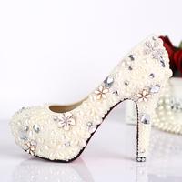 Bridal shpearl wedding shoes white flower formal dress shoes rhinestone shoes bridal high heels platform women pumps