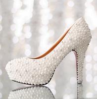 Bridal shoes high heels platform diamond wedding shoes pearl rhinestone women pumps shoes 2014